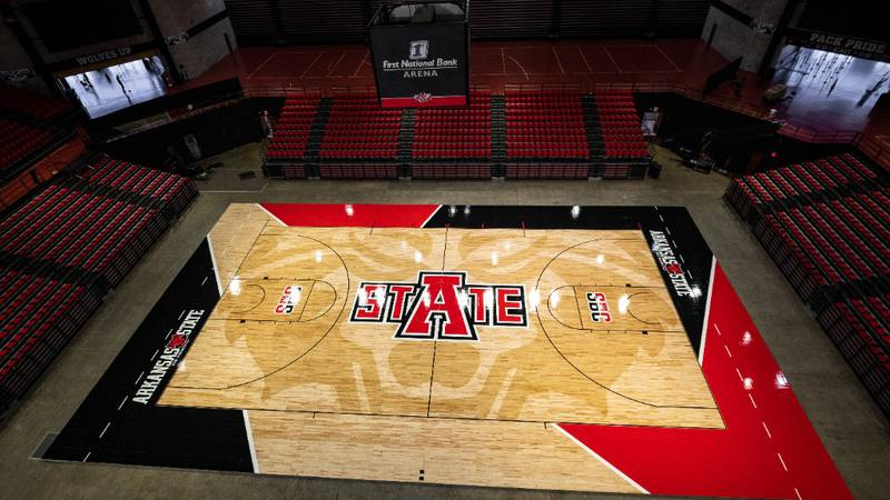 Arkansas State revealed their new court for basketball & volleyball at First National Bank Arena.