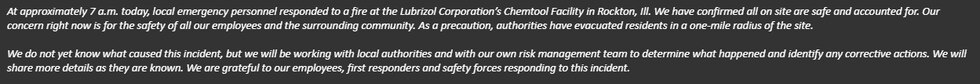Statement in response to the event at the Chemtool site in Rockton.