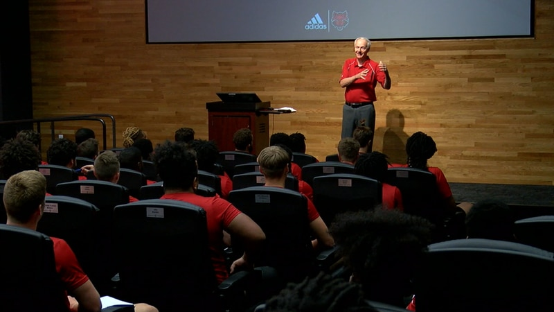 Governor Asa Hutchinson met with the Arkansas State football team Tuesday afternoon.