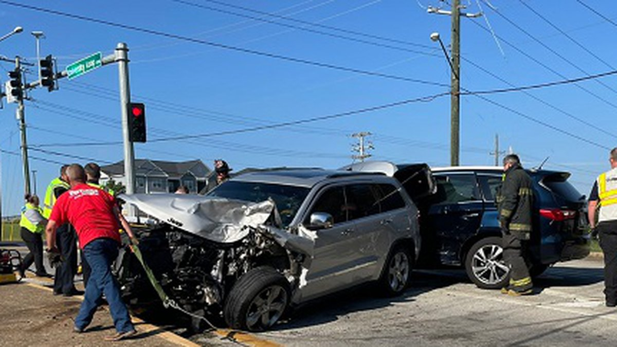 Emergency crews responded Sunday afternoon to a crash on Johnson Avenue at University Loop.