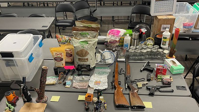 Three people were arrested Wednesday after drugs and a weapon were found during searches in...