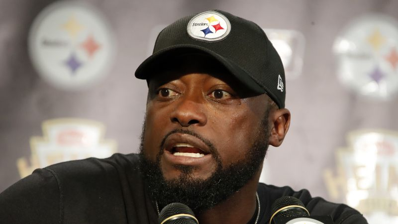 Pittsburgh Steelers head coach Mike Tomlin meets with reporters after an NFL football game...