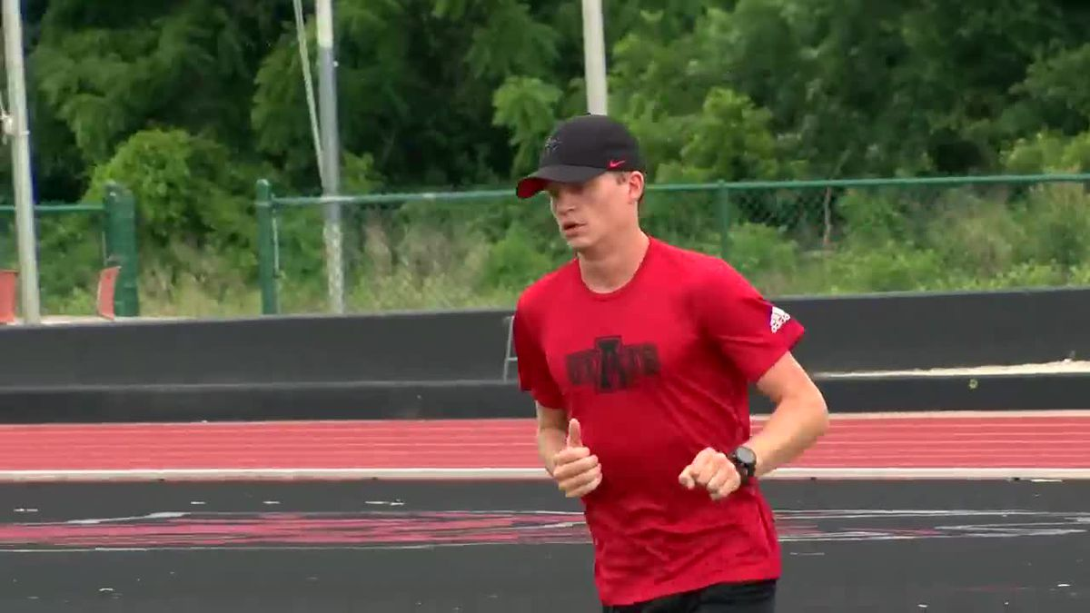 Arkansas State runner competing in steeplechase in NCAA Championships