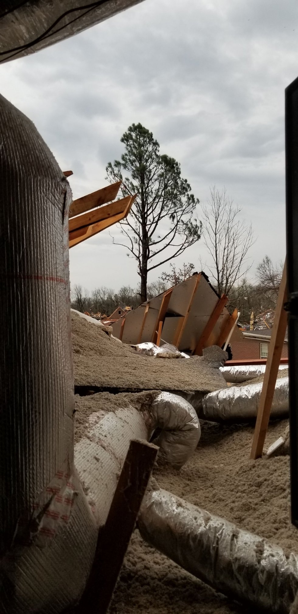 Tornado damage to Diane and Ben Bizzle's home on March 28, 2020