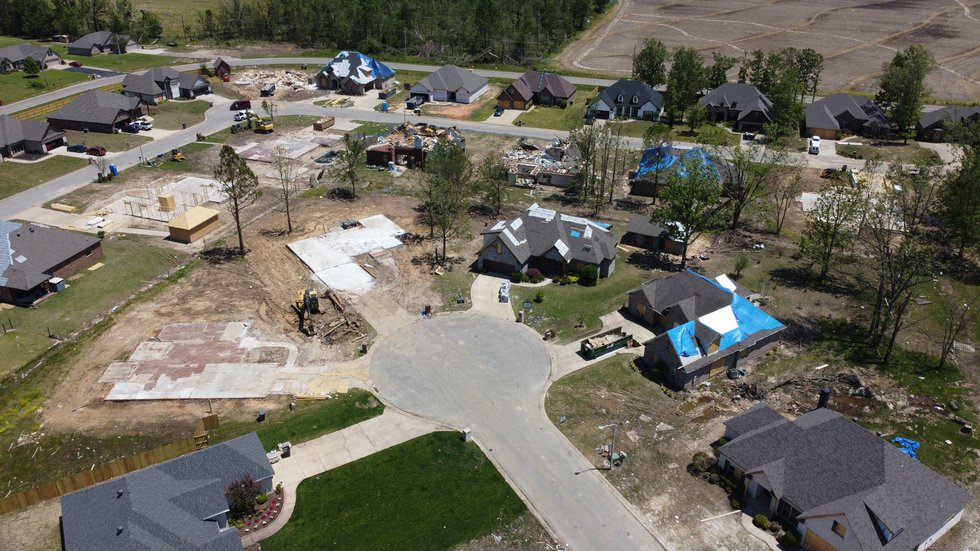 Drone image of tornado damage at Bridger Place on March 28, 2020.