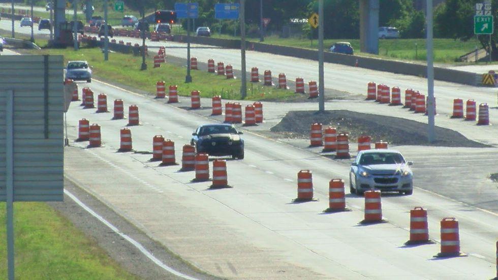 Crossover lanes installed for road work on I-555 in Jonesboro