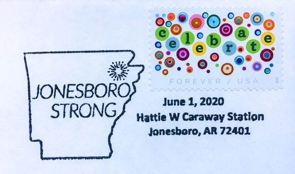 """To commemorate the reopening, the post office will use a special """"Jonesboro Strong"""" postmark."""