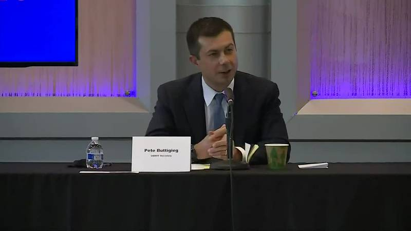 Transportation Secretary Pete Buttigieg participates in roundtable discussion about impact of...