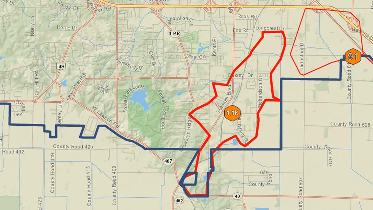 El área cerca a Colony Drive, entre Stadium y Richardson, estará sin electricidad por algún...