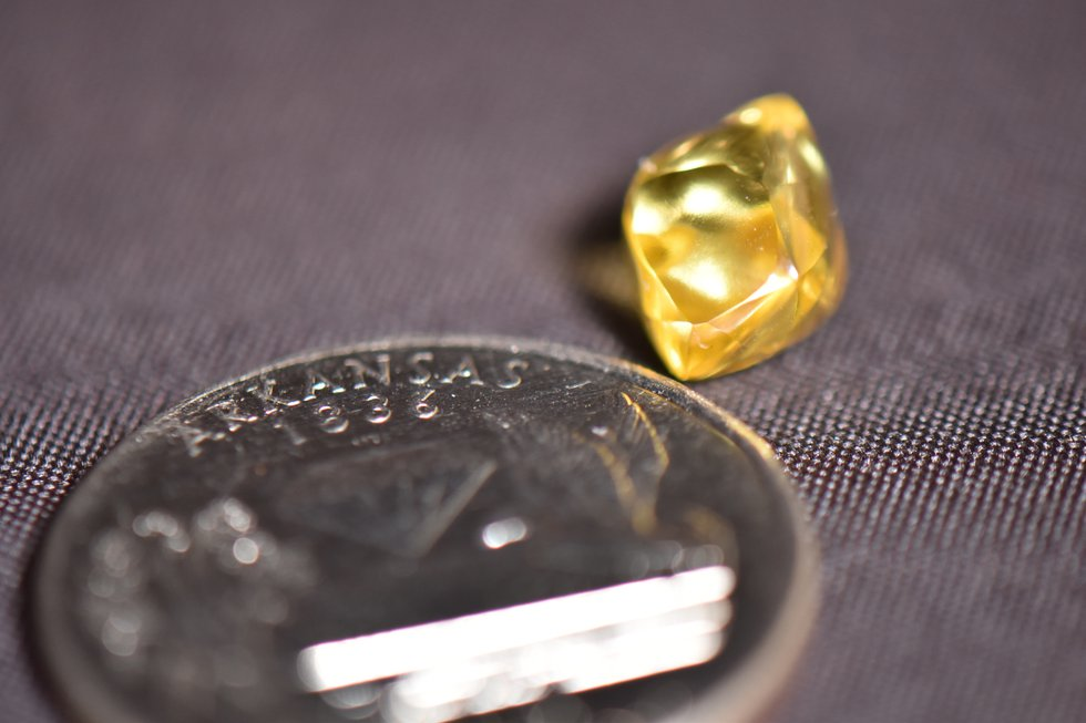 The 4.49-carat sparkling, canary yellow diamond is about the size of a jellybean.