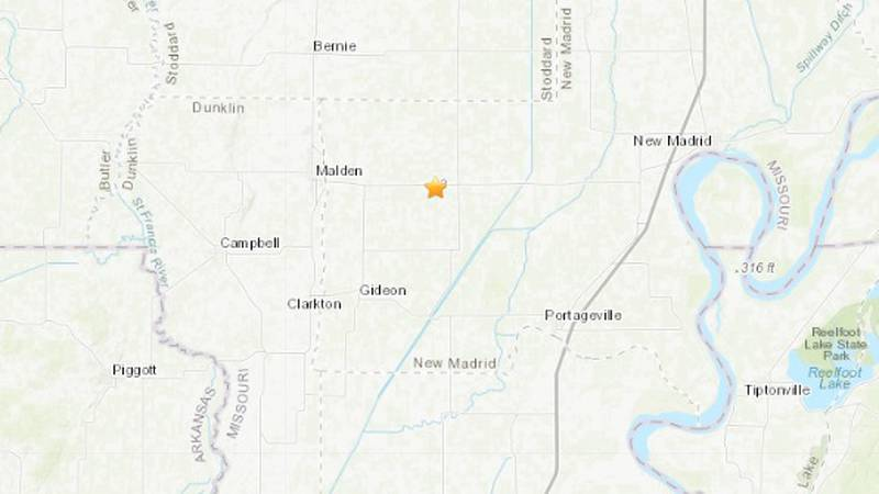The USGS recorded a magnitude 2.1 earthquake near Risco, Mo. early on Tuesday morning, June 8.