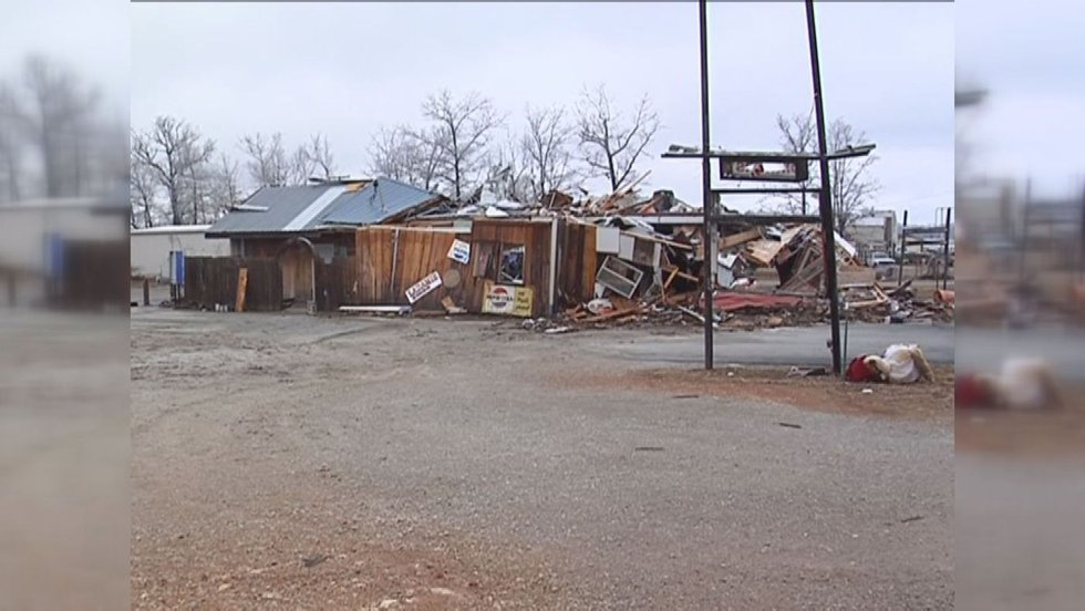 In Highland, the storm destroyed the town's fire department and leveled dozens of businesses...