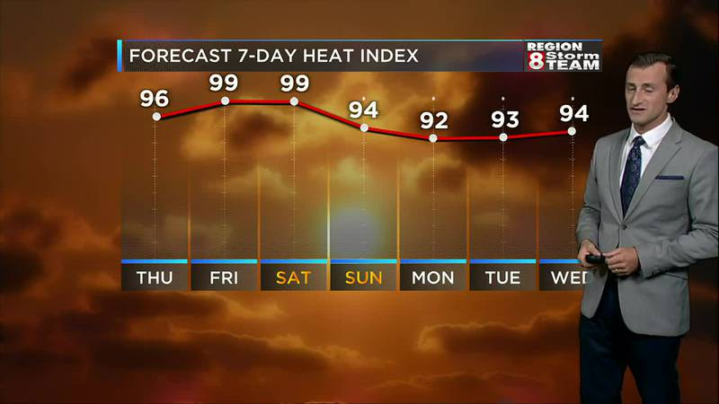 Hot and humid weather returns to Region 8