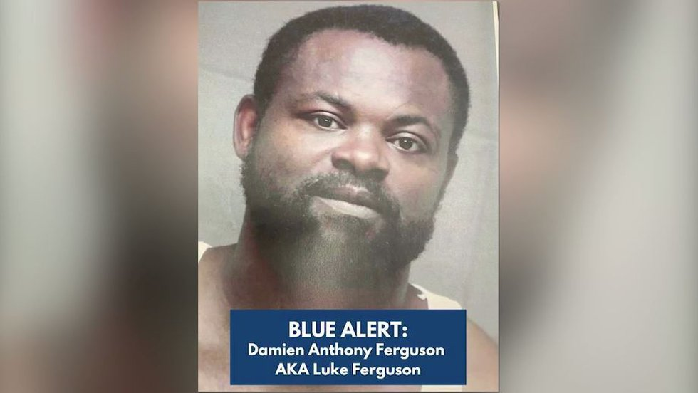 """Damien """"Luke"""" Ferguson, 43, is wanted in the deadly shooting of a Georgia police officer..."""
