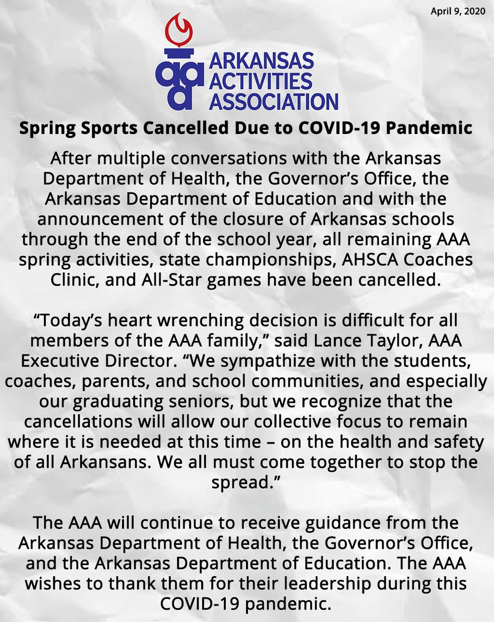 The Arkansas Activities Association canceled the remainder of the spring sports calendar on...