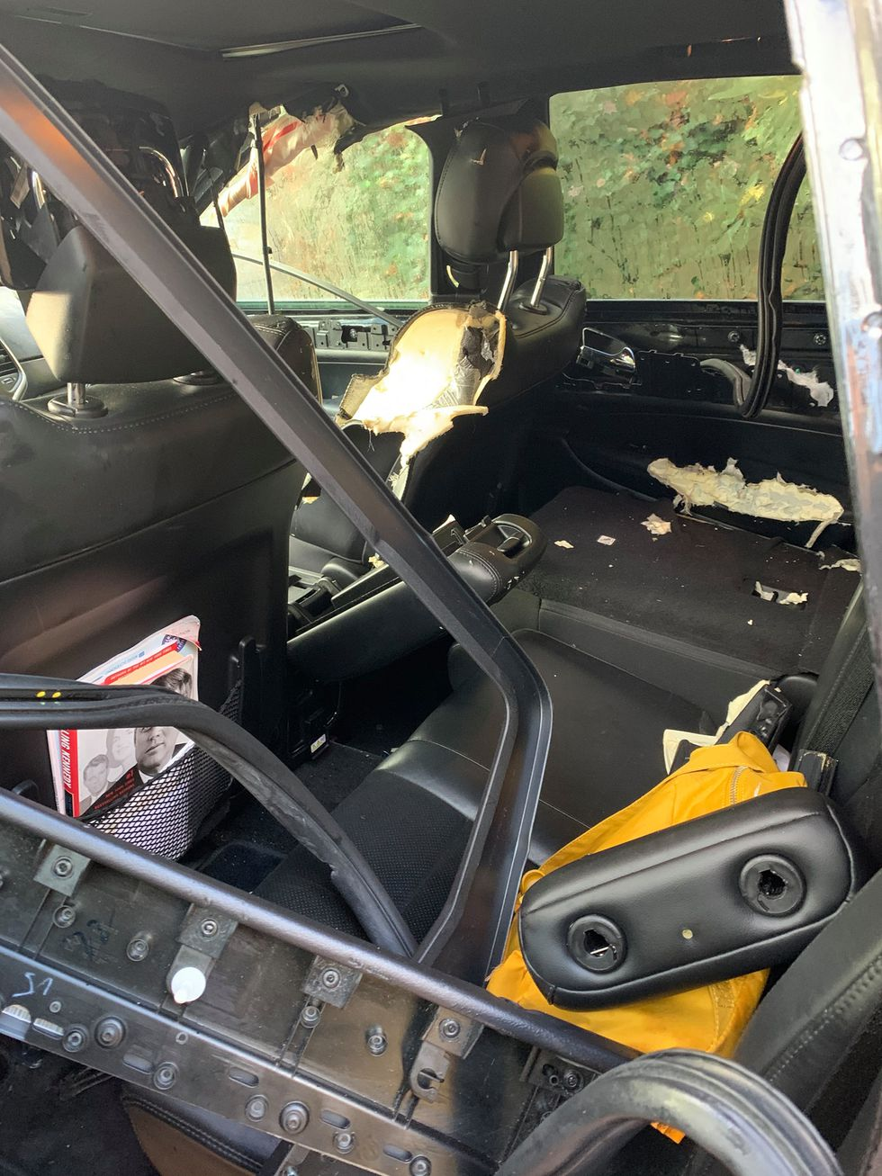 Bear gets stuck in Jeep during couple's honeymoon