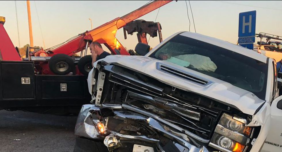 One of the vehicles involved in the head-on collision.