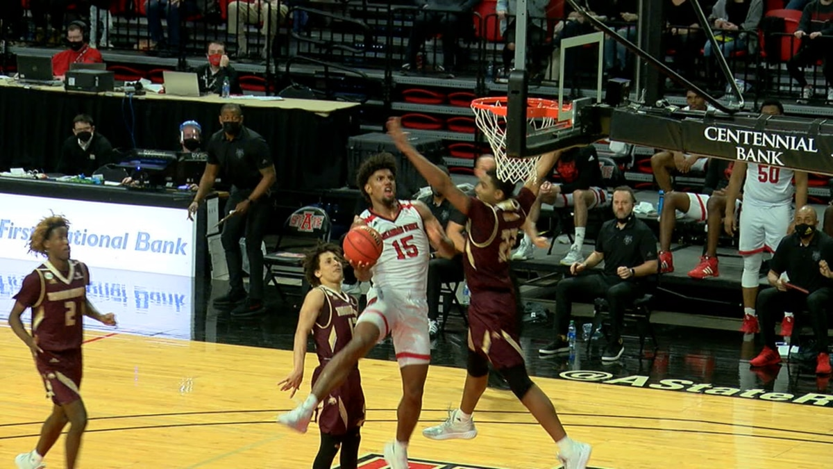 Norchad Omier had 16 points & 14 rebounds Monday but Arkansas State fell to Texas State.