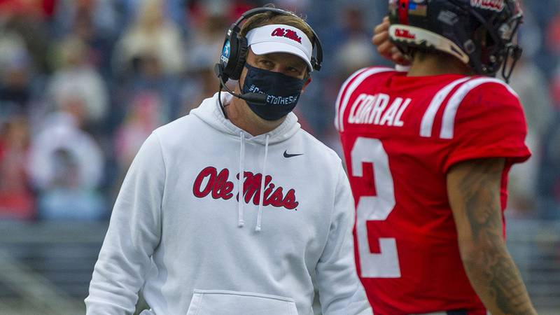 Oct 24, 2020; Oxford, Mississippi, USA; Mississippi Rebels head coach Lane Kiffin during the...