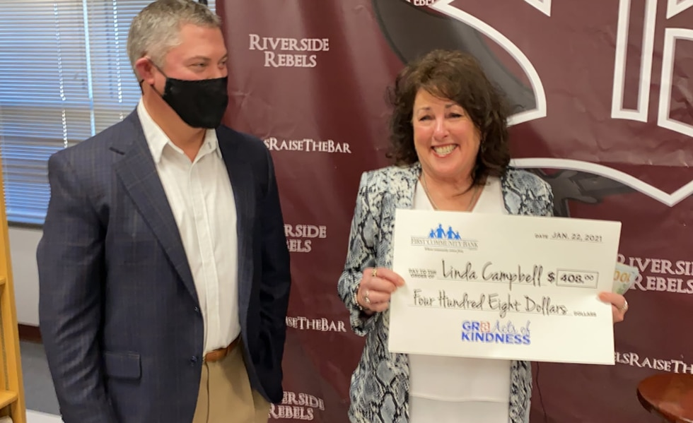 Linda Campbell was ecstatic to find out she had won the Gr8 Acts of Kindness.
