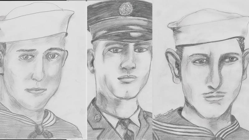 Cutline: S1C Charles Eugene Hardin, 2nd Lt. Lonnie Basil Wimberley and S1C Charles C. Sevier