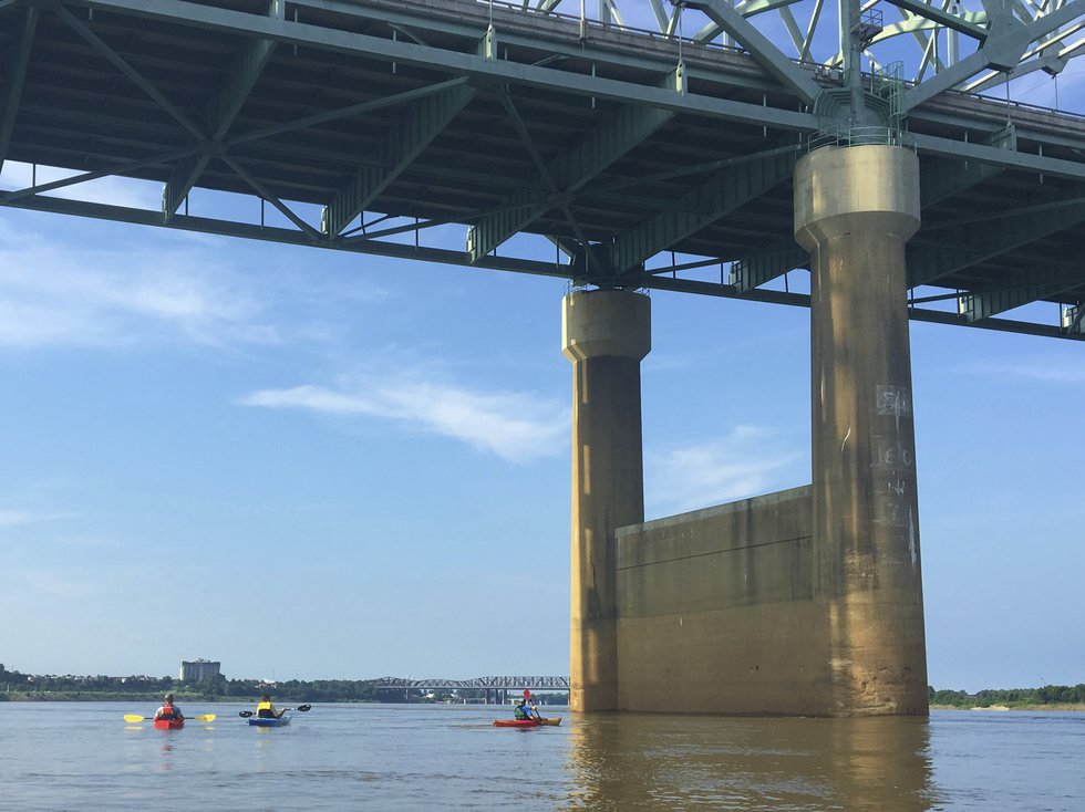 In this 2016 photo provided by Barry W. Moore, the Interstate 40 bridge is seen from the...