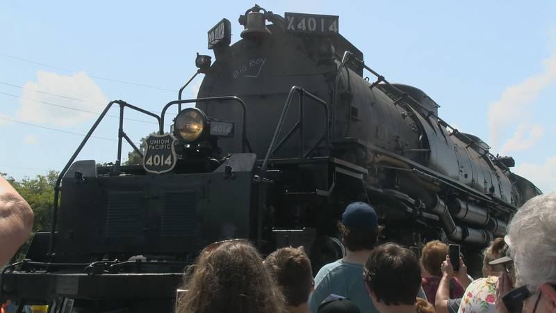 """In Walnut Ridge, the world's largest locomotive made a stop. """"Big Boy"""" number 4014 was in use..."""