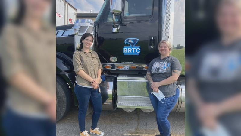 CaSandra Duran (L) and Shelby Gosha (R) are the first two female graduates of BRTC's CDL program.