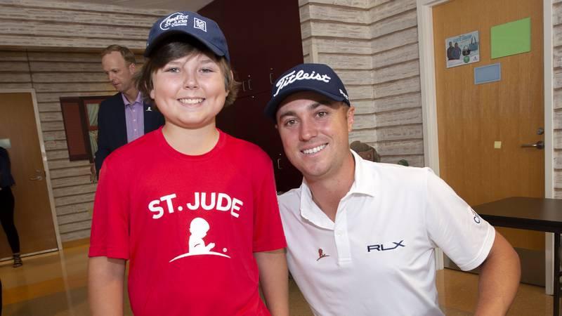 Leukemia survivor, Dakota Cunningham with PGA Tour golfer, Justin Thomas