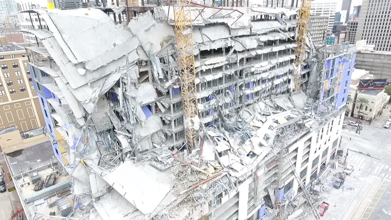 The Hard Rock Hotel , which is still under construction on Canal Street, partially collapsed...