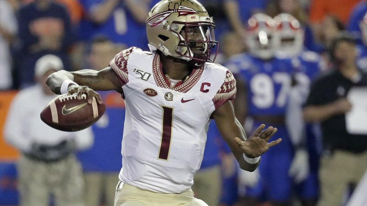 Florida State quarterback James Blackman looks for a receiver during the first half of the...