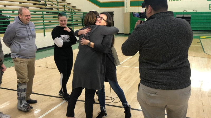 Amie Cole hugs Shayla King, the woman who nominated her for the Gr8 Acts of Kindness.