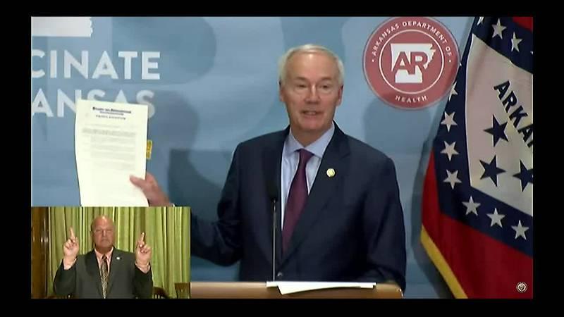 Ark. Gov. Asa Hutchinson (R) reissues a 'public health emergency' in Arkansas amid the COVID...