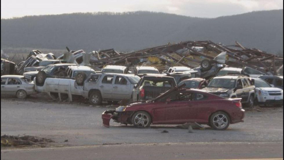 The storm flattened a Mountain View car dealership and slammed into the local hospital.