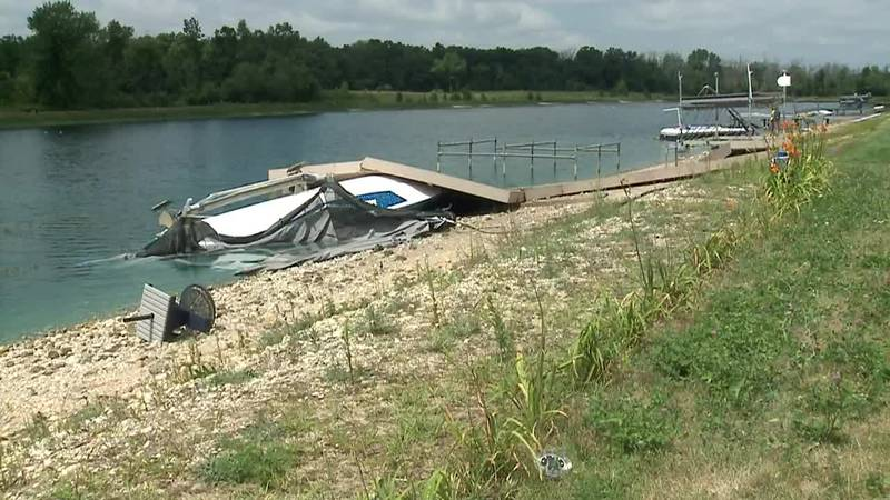 A strong storm damaged a dock and boats in Wisconsin.