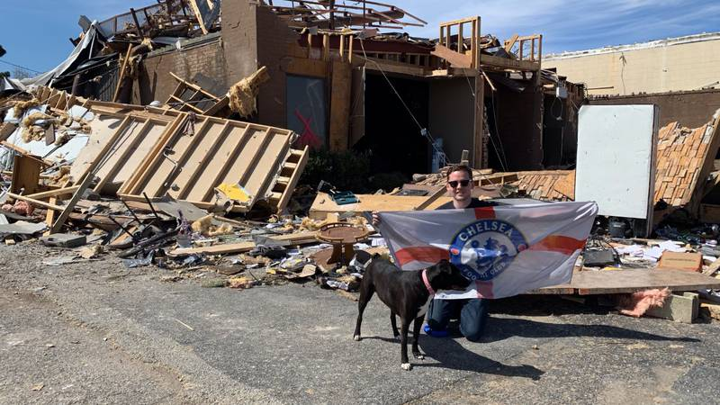 Smith survived the tornado as he took cover at German Auto Tech on Caraway Road.